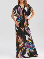 Butterfly Print Empire Waist Maxi Dress - BLACK
