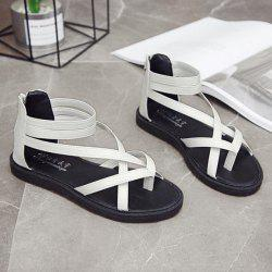 PU Leather Zip Toe Ring Sandals