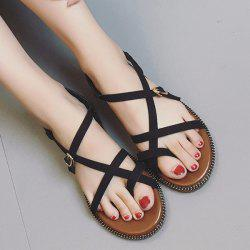 Flat Heel Toe Ring Buckle Strap Sandals - BLACK