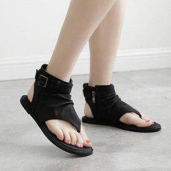 Belt Buckle Zipper Flat Heel Sandals - BLACK