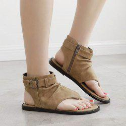 Belt Buckle Zipper Flat Heel Sandals -