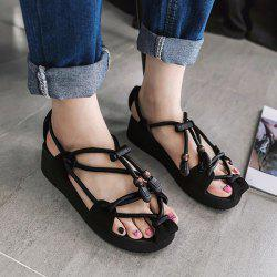 Wedge Heel Faux Leather String Sandals