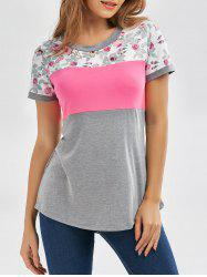 Floral Casual Color Block T-shirt