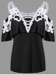 Overlay Dew Shoulder Applique T-shirt