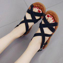 Flat Heel Cross Strap Sandals