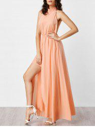 Halter Neck Backless Maxi Chiffon Prom Dress