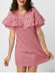 Mini Ruffle A Line Plaid Dress - RED