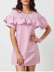 Mini Ruffle A Line Plaid Dress