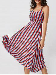 Spaghetti Strap High Waisted Striped Dress