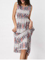 High Waisted Geometric Print Dress - COLORMIX
