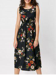 High Waisted Ornate Floral Print Midi Dress