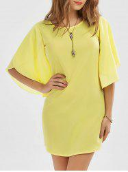 Petal Sleeve Shift Dress - YELLOW