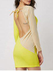 Two Tone Open Back Bodycon Mini Dress