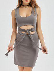 Cut Out Bowknot Bodycon Mini Dress
