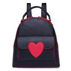 Top Handle Heart Patch Backpack - BLACK