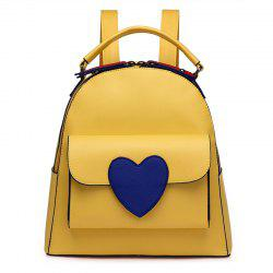 Top Handle Heart Patch Backpack - YELLOW