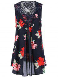 Plus Size Lace Panel Floral High Low Shift Dress - RED 2XL