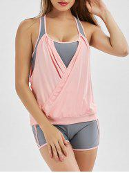Two Tone Surplice Racerback Blouson Tankini Bathing Suit - PINK