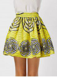 Printed High Waisted Ball Skirt - YELLOW XL