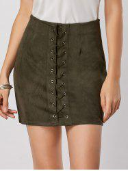 High Waisted Grommet Lace Up Bodycon Skirt - GREEN