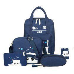 5 Pcs Canvas Cat Print Backpack Set - CERULEAN