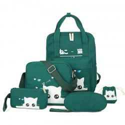 5 Pcs Canvas Cat Print Backpack Set