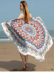 Tribe Flower Print Fringed Trim Beach Throw - Multicolore