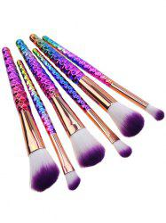 6Pcs Honeycomb Handle Design Ombre Makeup Brushes Set - MULTI COLOR