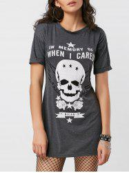 Cuffed Sleeve Skull Graphic Mini Dress - DEEP GRAY
