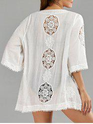 Fringe Openwork Beach Kimono Cover Up - WHITE