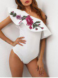 One Shoulder Embroidered Bodysuit - WHITE M