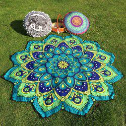 Ethnic Floral Printing Flower Design Beach Throw - BLUE GREEN