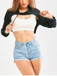 Long Sleeve Drawstring Hooded Crop Top