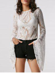 Flare Sleeve Lace Sheer Blouse