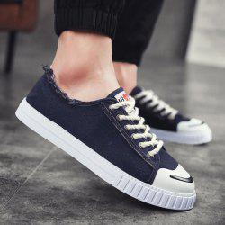Round Toe Flat Lace Up Canvas Shoes