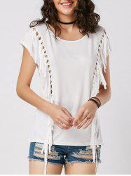 Mesh Cut Out Fringe Tunic T Shirt
