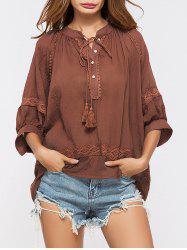 Lace Insert Tassels Sheer Oversized Top - DEEP RED
