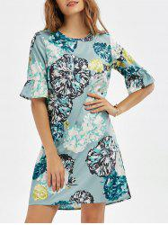 Flower Print Ruffles Panel Shift Dress