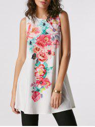 Floral Print Mini Tank Dress - WHITE