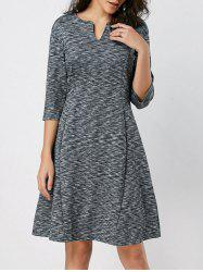 Split Neck Fit and Flare Heathered Dress