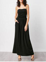 Strapless Pockets Floor Length Dress