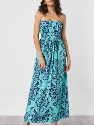 Printed Strapless Maxi Boho Summer Dress