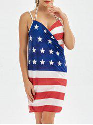 American Flag Patriotic Wrap Cover Up Dress