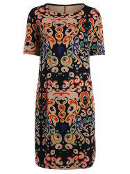 Plus Size Funny Printed Knee Length T-shirt Dress -