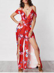 Ruffle Slit Floral Cold Shoulder Jumpsuit - RED