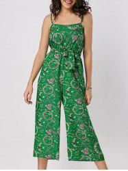 Spaghetti Strap Belted Printed Wide Leg Jumpsuit