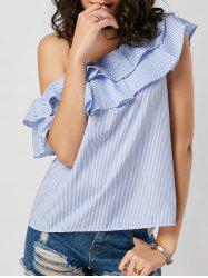 Layer Flounce Striped Skew Collar Blouse - BLUE STRIPE M