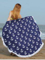 Fringed Trim Anchor Print Round Beach Towel