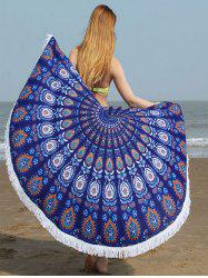 Fringed Edge Tribe Waterdrop Beach Towel - CERULEAN