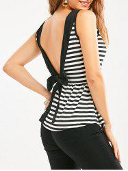 Bowknot Backless Striped Sleeveless Flowy T-Shirt